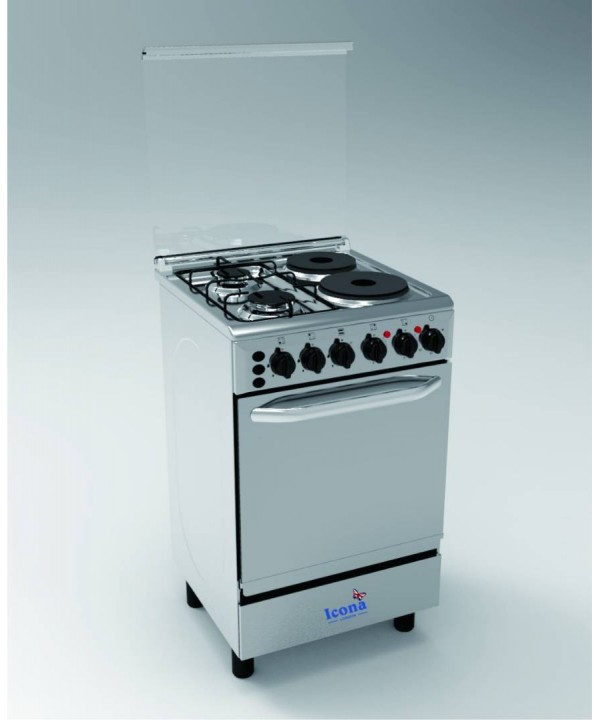 Icona gas cooker 4 burner four burner 2 gas 2 electric hot plate oven and grill