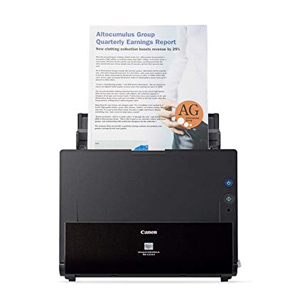 Canon document scanner with auto paper feeder .DRC225W with a sample document
